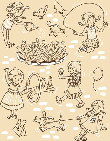 cats playing: Seamless pattern or picture set of small girls playing in the yard with cats and dogs, watering flowers, jumping and eating ice cream