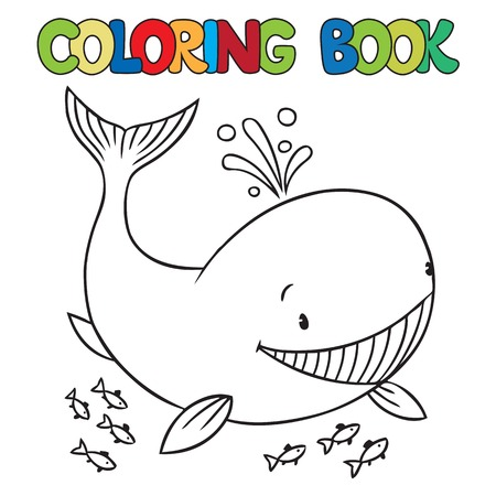 Coloring book or coloring picture of funny little whale Vettoriali