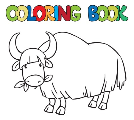 yak: Coloring book or coloring picture of funny grazing wild yak