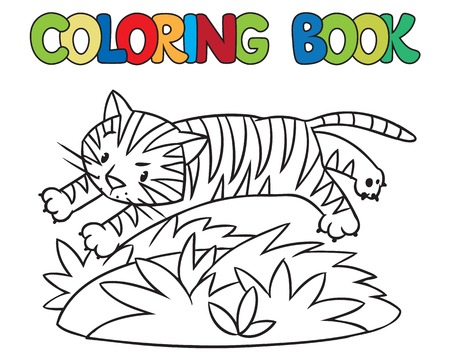 jungle jumping: Coloring book or coloring picture of little funny tiger jumping out of the jungle Illustration