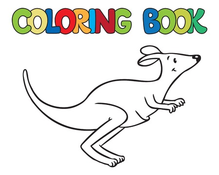 marsupials coloring book or coloring picture of little funny jumping kangaroo