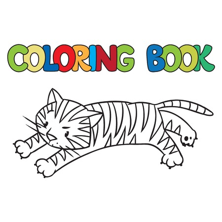 jungle jumping: Coloring book or coloring picture of of little funny tiger jumping out of the jungle