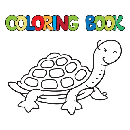 Coloring book or coloring picture of little funny turtle on the sand Vector