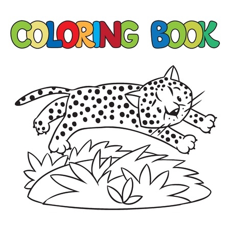 Coloring Book Or Coloring Picture Of Little Funny Jumping Cheetah ...