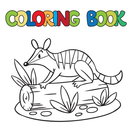log book: Coloring book or coloring picture of little funny numbat on a log Illustration
