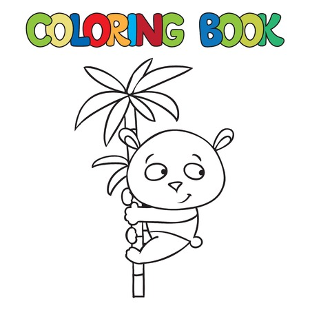 Coloring book or coloring picture of little funny panda on bamboo. Vector