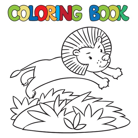 Coloring Book Or Coloring Picture Of Little Funny Rhino Running General Jumping Coloring Books