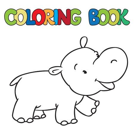 Kleurboek of kleurplaat van weinig grappige hippo of een nijlpaard Vector Illustratie