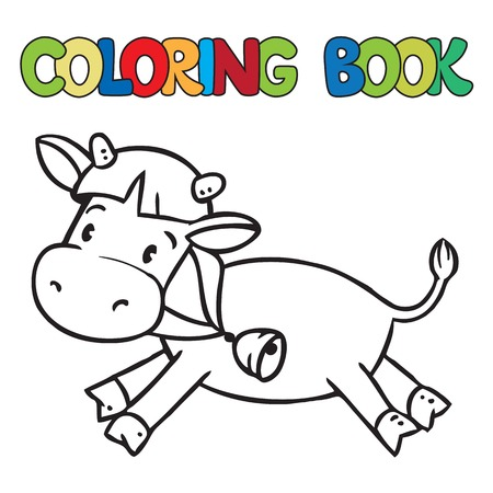 Coloring book or coloring picture of funny cow or calf Vector