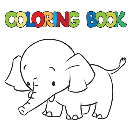 jumbo: Coloring book or coloring picture of little funny elephant or jumbo