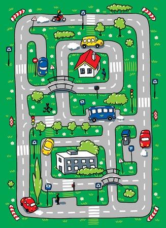 어린이 도로, 잔디 영역, byilding 및 자동차의 미로의 그림을 벡터 일러스트