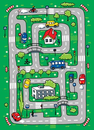 Children vector illustration of labyrinth of roads, grass areas, byilding and cars