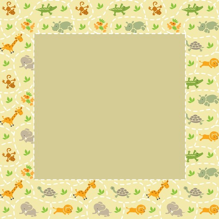 savannah: Frame with seamless pattern of funny running african animals in savannah. Children vector illustration