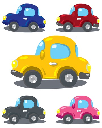 varicolored: Set of small funny vector varicolored cars