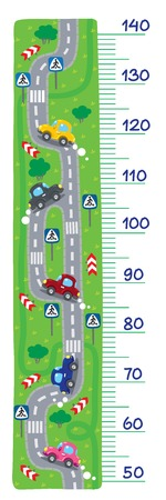 Meter wall or heght meter of  roads, grass areas and cars. Children vector illustration. Illustration