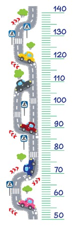 Meter wall or heght meter of  roads  and cars. Children vector illustration. Illustration