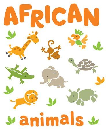 discreto: Conjunto de animales africanos funcionamiento divertido en la sabana. Ilustración vector de los niños
