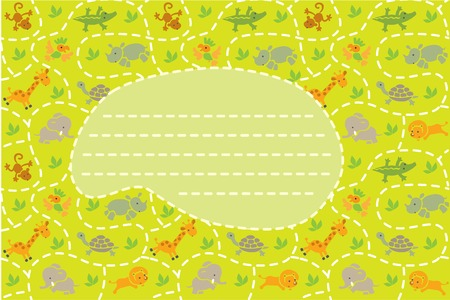 place for children: Card with seamless pattern of funny running african animals in savannah and place for text. Children vector illustration