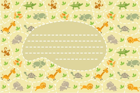 savannah: Card with seamless pattern of funny running african animals in savannah and place for text. Children vector illustration