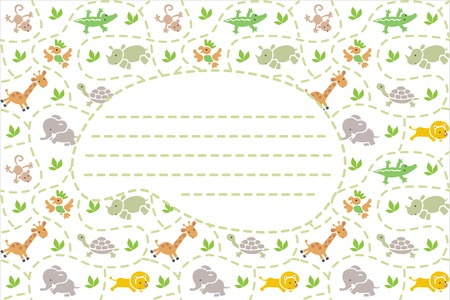 bush babies: Card with seamless pattern of funny running african animals in savannah and place for text. Children vector illustration