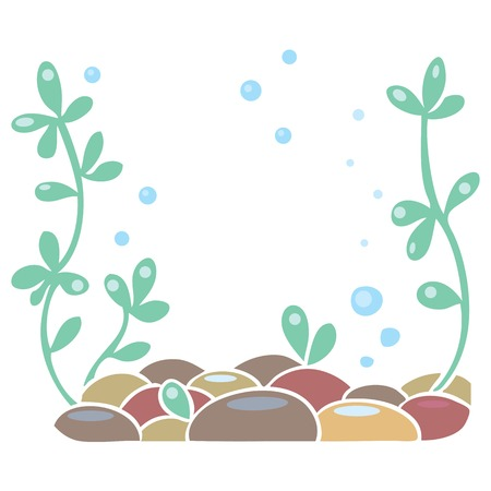 Children vector illustration of framing in the form of aquarium bottom or ocean floor with plant and stones