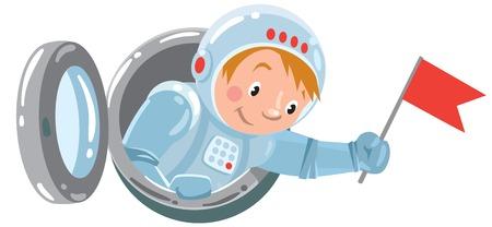 brandish: Funny boy astronaut waving flag from the open porthole. Children vector illustration