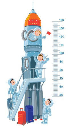 starship: Meter wall or height meter with rocket and four small smiley boys-astronauts. Children vector illustration