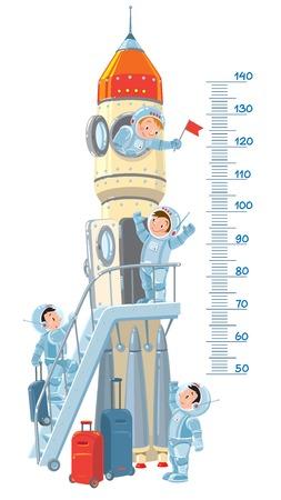 미터 벽이나 로켓 높이 미터와 4 개의 작은 웃는 소년 - 우주 비행사. 어린이 벡터 일러스트 레이 션