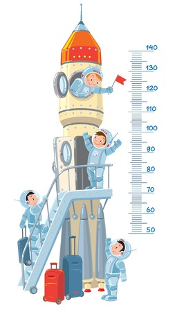 Meter wall or height meter with rocket and four small smiley boys-astronauts. Children vector illustration Vector