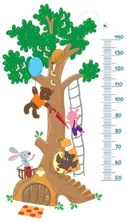 풍선과 함께 큰 나무와 재미 토끼, 돼지, 올빼미와 곰 미터 벽 또는 높이 측정기