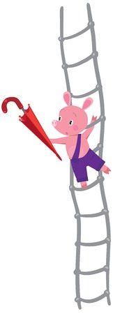 porker: Children vector illustration of little pig or piglet with umbrella on ladder Illustration