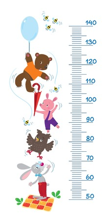 Meter wall or height meter with funny rabbit, piglet, owl and bear with balloon  surrounded by bees Vector