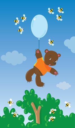 Childrens vector illustration of surprised toy bear in orange t-shirt flying with  blue balloon surrounded by bees Vector