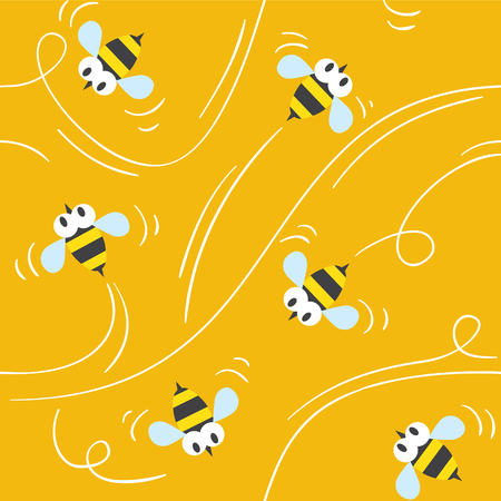 bee: Seamless pattern with funny flying bees on honey background. Children vector illustration