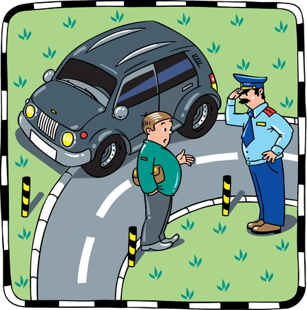 Policeman stopped the car, salutes and talking with the driver on the road. Children vector illustration