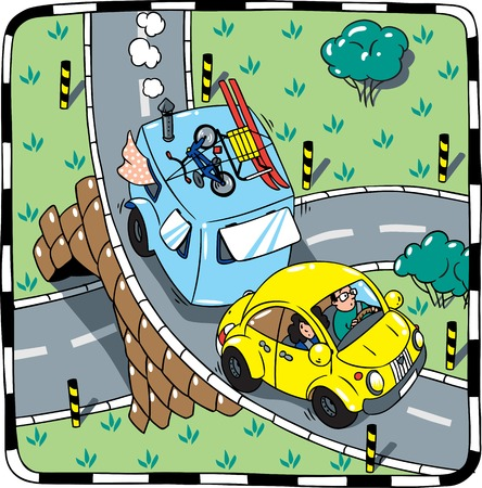 resettlement: Children vector illustration of small yellow car with trailer on the road
