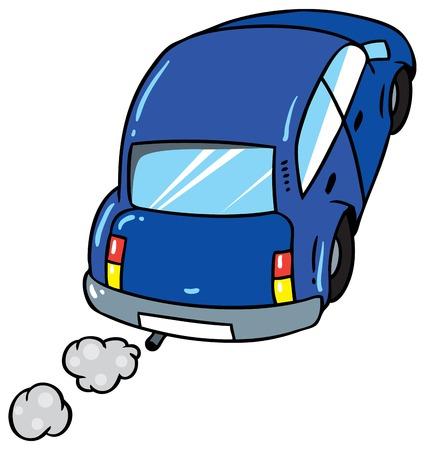 far away: Children vector illustration of  blue car goes far away