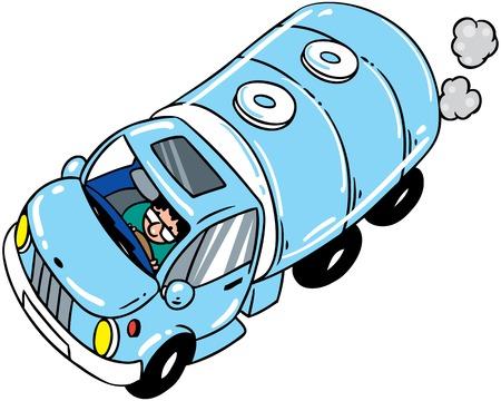 Children vector illustration of big milk tanker on the road