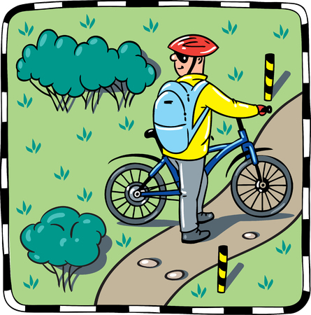 glases: Children vector illustration of cyclist with a bike. Illustration