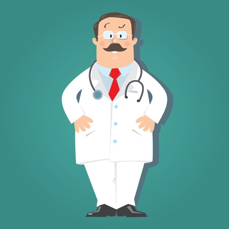 Funny doctor in white coat on blue-green background . Children vector illustration