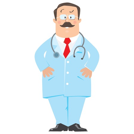 glases: Funny doctor in light-blue coat. Children vector illustration