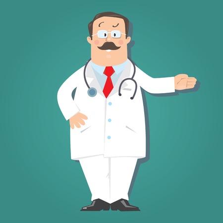 glases: Funny doctor in white coat on blue-green background . Children vector illustration