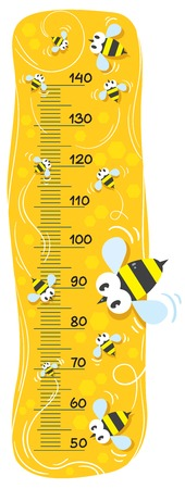 Meter wall or height meter with funny bees on honey gold mackground with a scale to measure