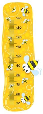 wasp: Pared metro o metro de altura con las abejas divertidas en la miel de oro mackground con una escala para medir