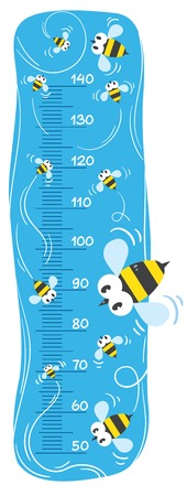 height measure: Meter wall or height meter with funny bees on sky blue background with a scale to measure