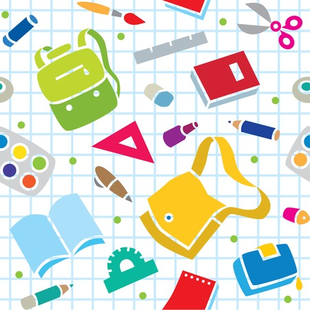 School seamless pattern of education equipment, bag and book, copybook and diary and ruler, pen and pencil, pencil box and glue and eraser. Vector