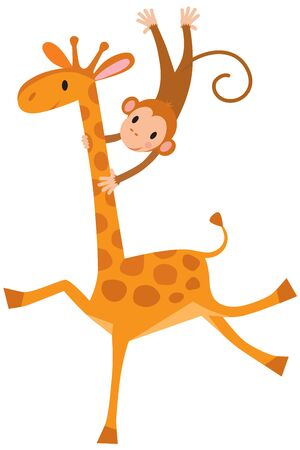Funny giraffe with litlle monkey. Children vector illustration