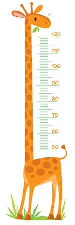 child: Cheerful childrens giraffe meter wall from 50 to 120 centimeter Illustration