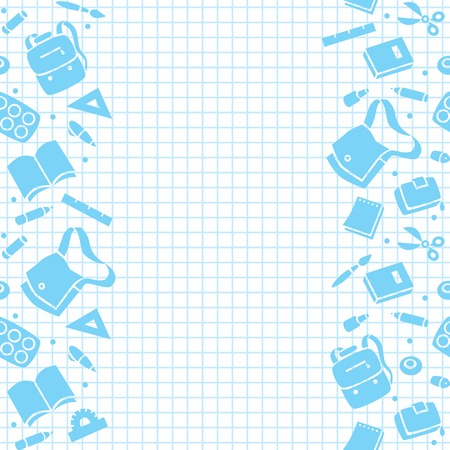 Seamless pattern or design template with education equipment and background in the box, like in the school notebook Vector