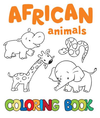 아프리카 동물들과 함께 책이나 색칠 그림 색칠하기, 기린, 하마, 뱀, 코끼리